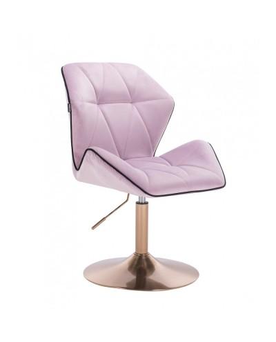 Wygodny fotel z oparciem CRONO welur wrzosowy - złoty dysk