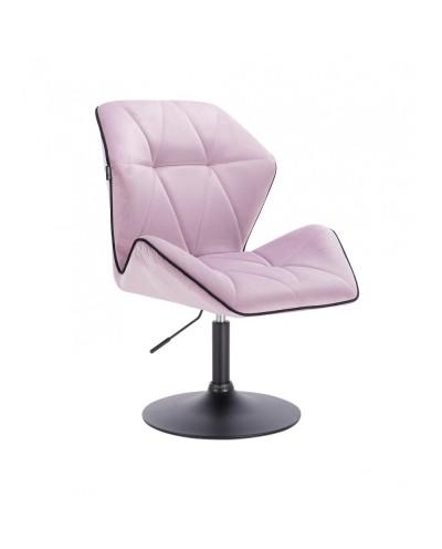 Krzesło do jadalni CRONO do stołu welur wrzosowy - czarny dysk