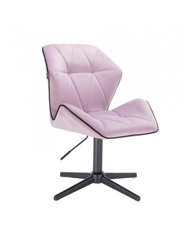 Krzesło do salonu CRONO welur wrzosowy - czarny krzyżak