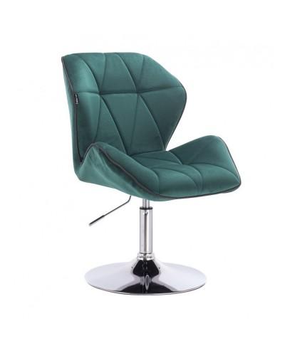 Fotel wypoczynkowy do domu CRONO butelkowa zieleń - dysk chrom