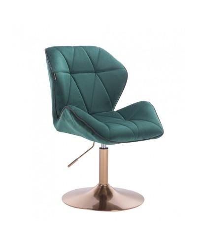Wygodny fotel z oparciem CRONO butelkowa zieleń - złoty dysk