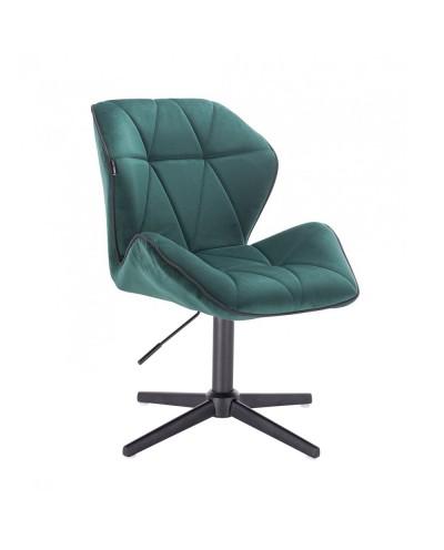 Krzesło do salonu CRONO butelkowa zieleń - czarny krzyżak