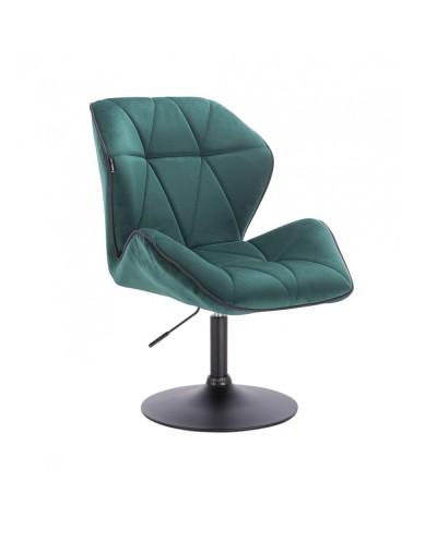 Krzesło do jadalni butelkowa zieleń CRONO do stołu - czarny dysk