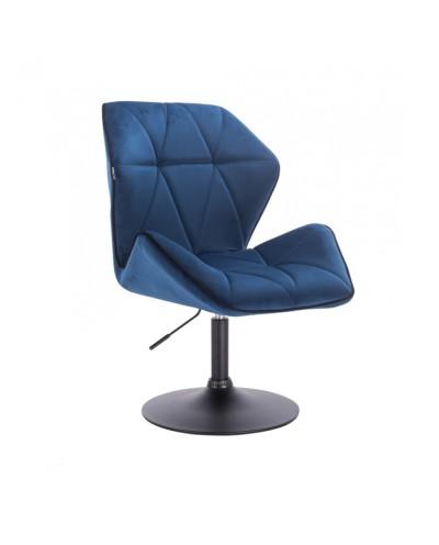 Krzesło do jadalni obrotowe CRONO ciemne morze - czarny dysk