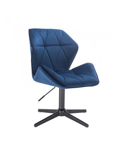Krzesło tapicerowane do salonu CRONO ciemne morze - czarny krzyżak