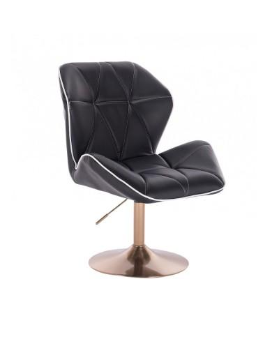 Wygodny tapicerowany fotel z oparciem CRONO czarny - złoty dysk