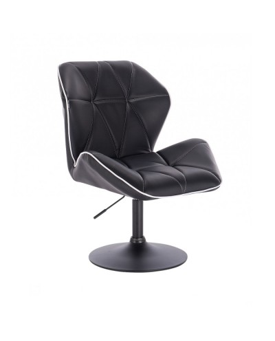 CRONO Czarne krzesło z oparciem obrotowe - czarny dysk