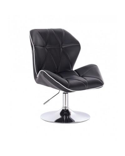 CRONO Fotel kolor czarny tapicerowany skóra eko - dysk chrom