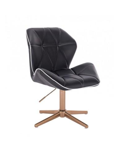 Krzesło biurowe czarne CRONO biuro, gabinet - złoty krzyżak