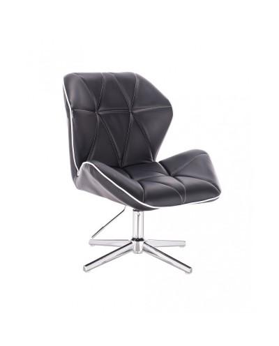 Czarny fotel gabinetowy CRONO modny gabinet - krzyżak chrom
