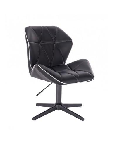 Czarne krzesło CRONO skóra ekologiczna - czarny krzyżak