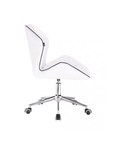 CRONO Białe krzesło tapicerowane eko skóra - kółka chrom