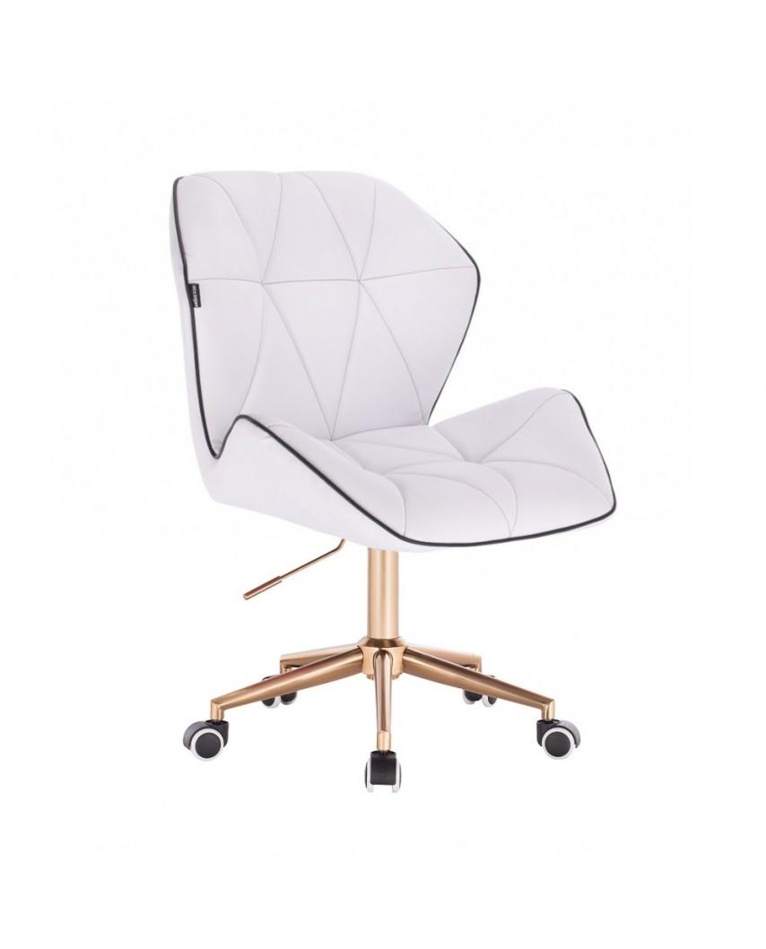 CRONO Białe krzesło biurowe obrotowe skóra ekologiczna - złote kółka