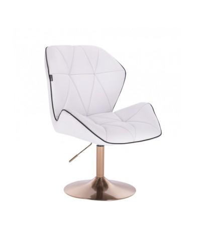 Wygodny tapicerowany fotel z oparciem CRONO biały - złoty dysk
