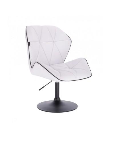 CRONO Białe krzesło z oparciem obrotowe - czarny dysk