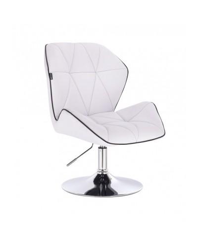 CRONO Fotel kolor biały tapicerowany skóra eko - dysk chrom