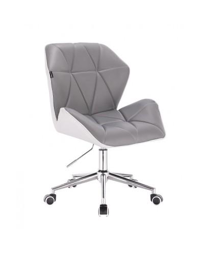 CRONO Krzesło tapicerowane eko skóra szary biały - kółka chrom
