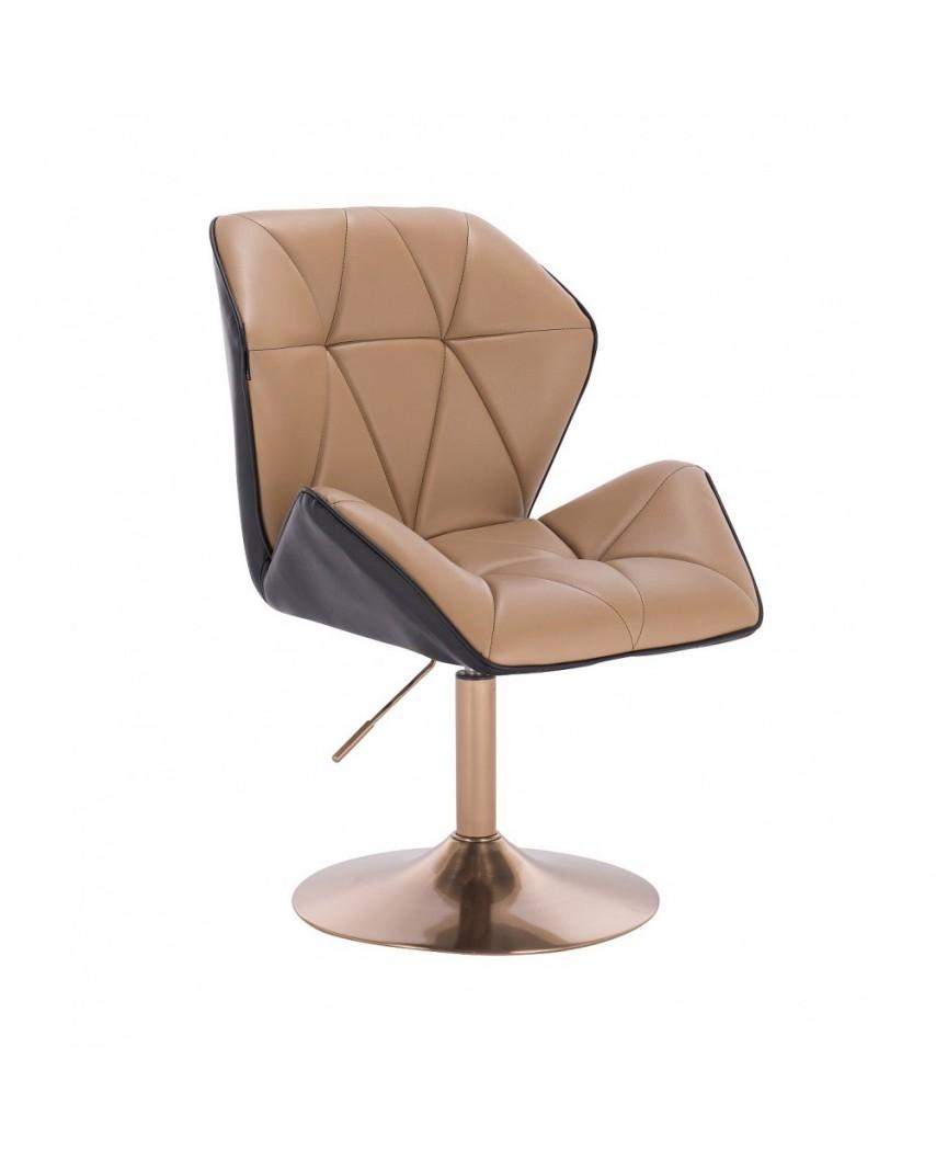 Karmelowo czarny fotel z oparciem CRONO złoty dysk