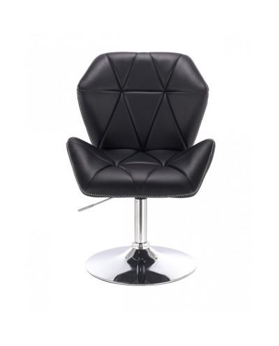 CRONO ZET Fotel tapicerowany czarny skóra ekologiczna - dysk chrom