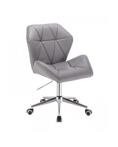 Szare krzesło CRONO ZET z przeszyciem na oparciu - kółka chrom