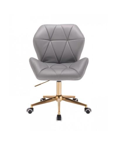 CRONO ZET Szare obrotowe krzesło z przeszycieam - złote kółka
