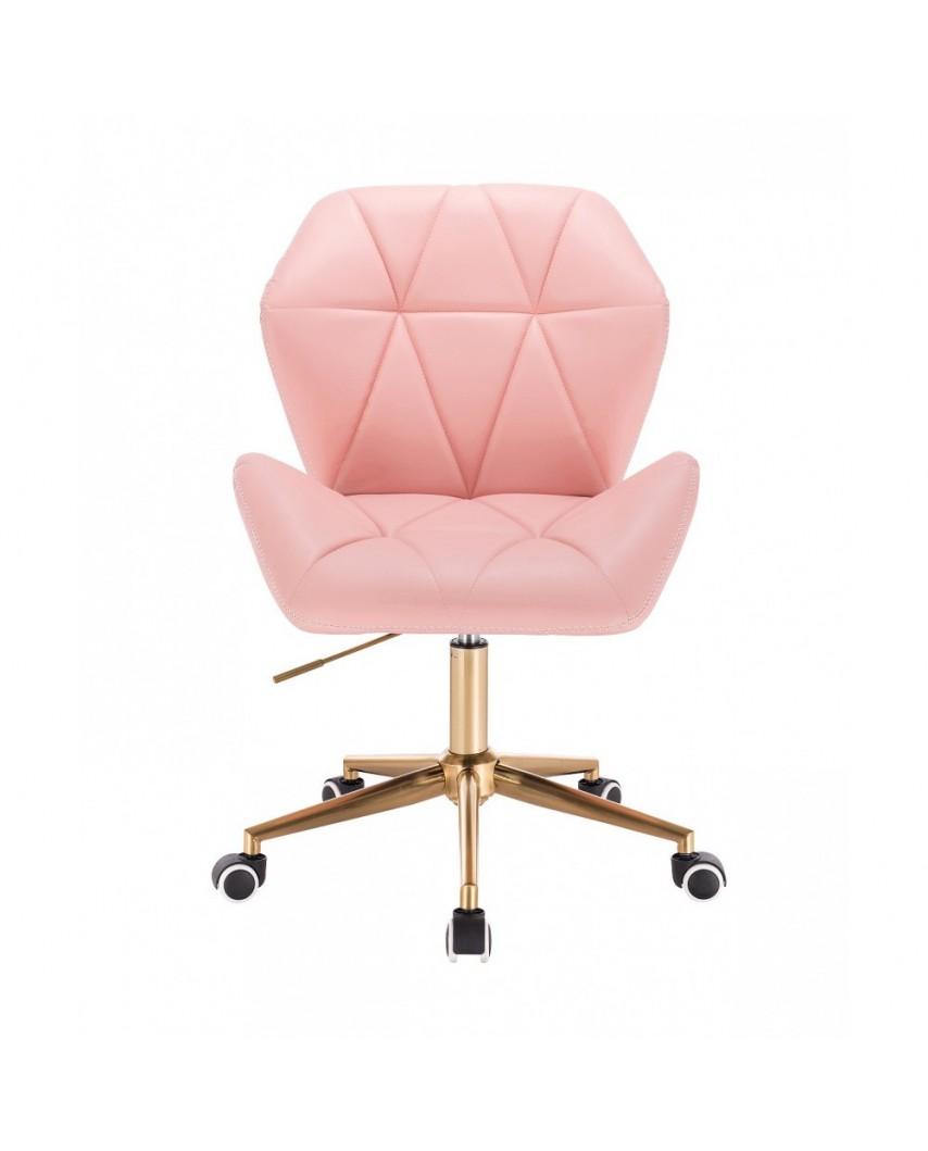 CRONO ZET Różowe krzesło do biurka - złote kółka