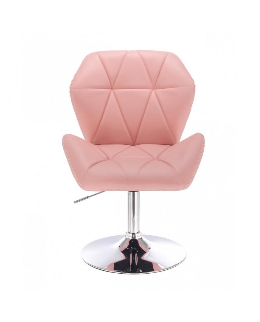 CRONO ZET Różowe krzesło do toaletki dysk chrom