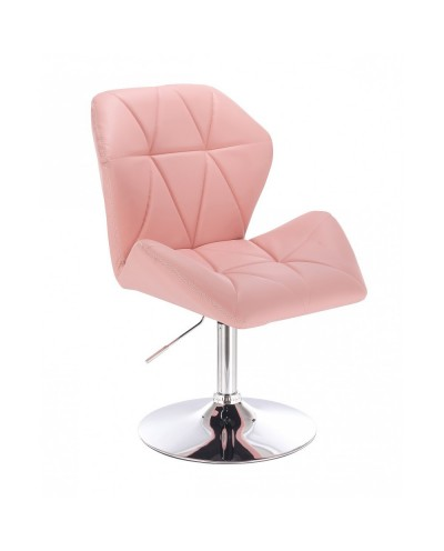 CRONO ZET Różowe krzesło do toaletki - dysk chrom