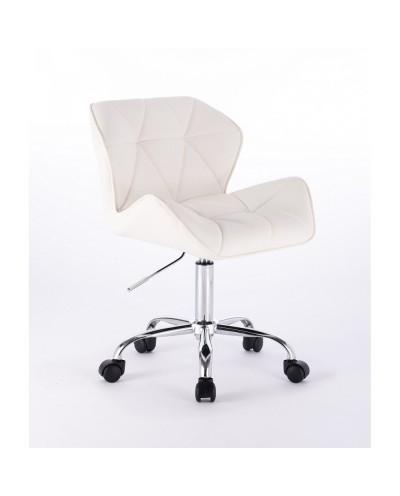 Małe krzesło PETYR UNO białe - kółka chrom