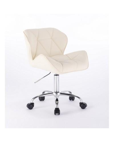 Małe krzesło na kółkach PETYR UNO kolor kremowy - kółka chrom