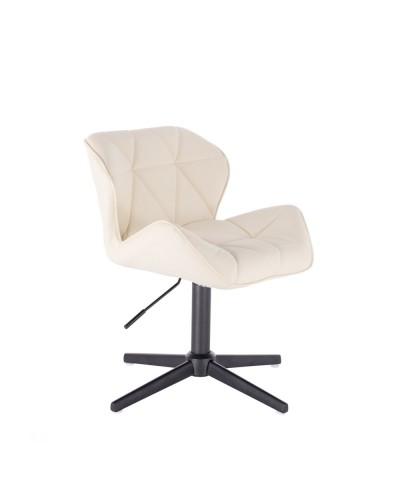 Kremowy taboret PETYR UNO małe krzesełko - czarny krzyżak