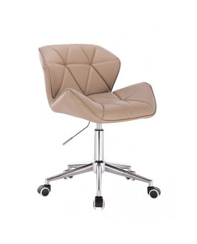 Krzesełko z oparciem PETYR UNO karmelowe - kółka chrom