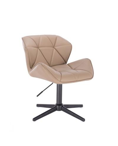 Karmelowy taboret PETYR UNO małe krzesełko - czarny krzyżak