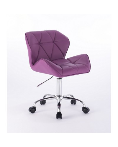 Fioletowe krzesełko na kółkach PETYR UNO - kółka chrom