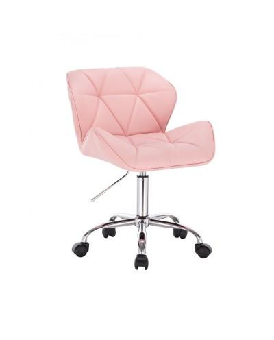 Różowe krzesło dla dziewczynki PETYR UNO - kółka chrom