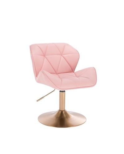 Nowoczesne krzesło PETYR UNO różowe - złoty dysk