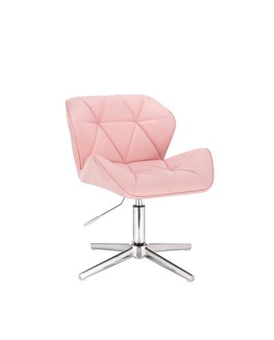 Tapicerowane krzesło PETYR UNO różowe skóra eko - krzyżak chrom