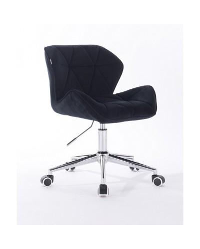Krzesło tapicerowane PETYR czarne - kółka chrom