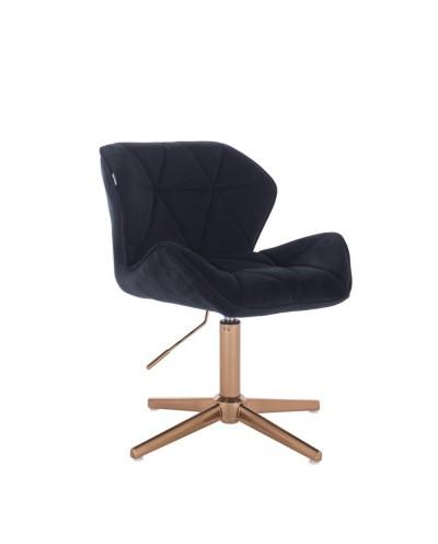 Krzesło welurowe PETYR czarne - złoty krzyżak