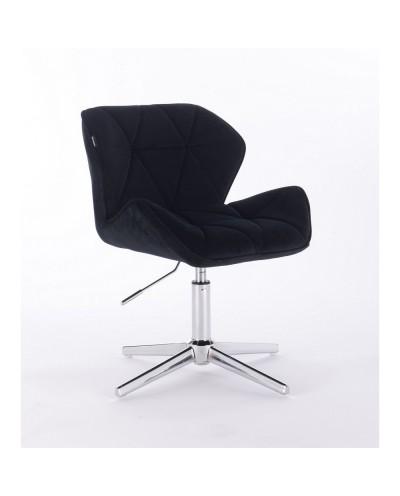 Krzesło czarne PETYR na metalowej podstawie - krzyżak chrom