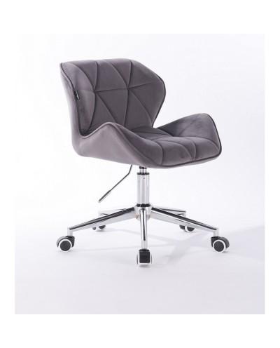Krzesło tapicerowane PETYR grafitowe - kółka chrom
