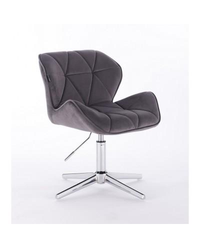 Krzesło PETYR na metalowej podstawie grafitowe - krzyżak chrom