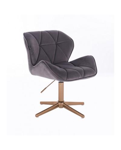 Krzesło welurowe PETYR grafitowe - złoty krzyżak