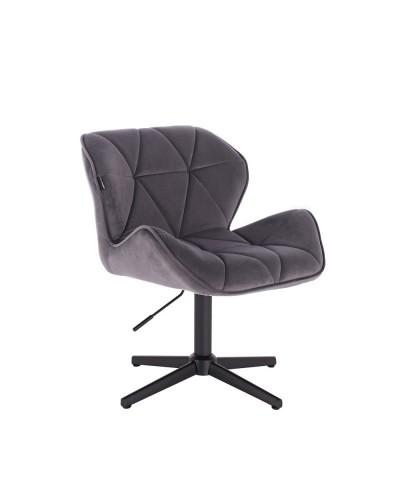 Krzesło grafitowe PETYR na metalowej czarnej podstawie krzyżak