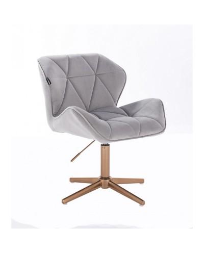Krzesło welurowe PETYR stalowe - złoty krzyżak