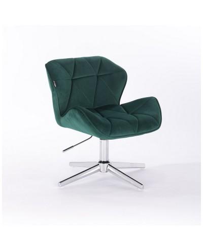 Butelkowa zieleń krzesło PETYR na metalowej podstawie - krzyżak chrom
