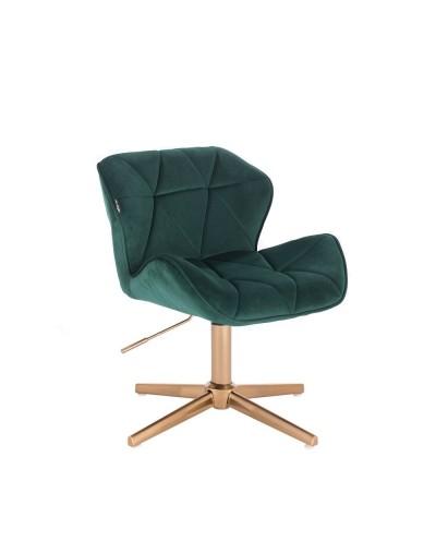 Butelkowa zieleń PETYR krzesło - złoty krzyżak