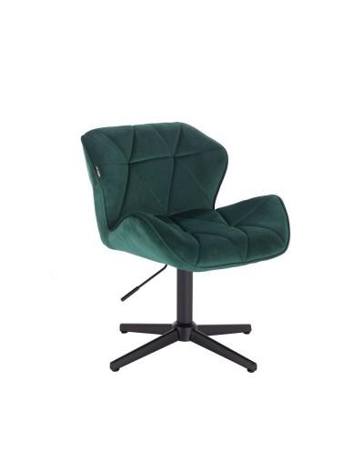 Krzesło butelkowa zieleń PETYR na metalowej czarnej podstawie krzyżak