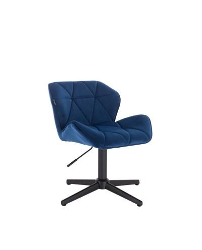 Krzesło PETYR na metalowej czarnej podstawie krzyżak - ciemne morze
