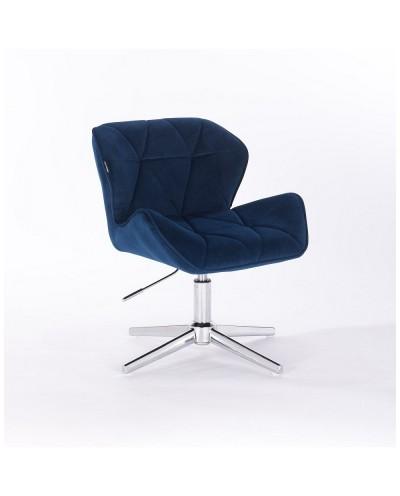 Krzesło PETYR na metalowej podstawie ciemne morze - krzyżak chrom